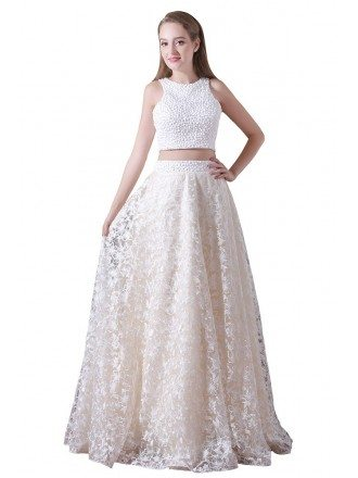A-line Two Pieces Floor-length Lace Prom Dress With Beading