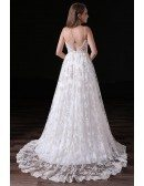 Ball-gown V-neck Sweep Train Lace Wedding Dress With Open Back