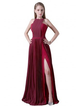 A-line High Neck Floor-length Chiffon Prom Dress With Split