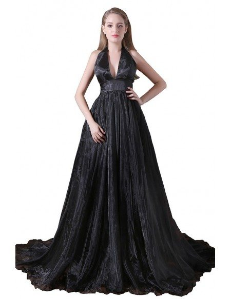 Ball-gown Halter Sweep Train Tulle Prom Dress With Split