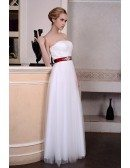 A-Line Strapless Floor-Length Organza Wedding Dress With Beading Bow
