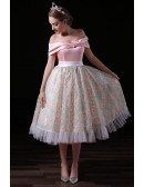 Ball-gown Off-the-shoulder Tea-length Tulle Homecoming Dress With Open Back