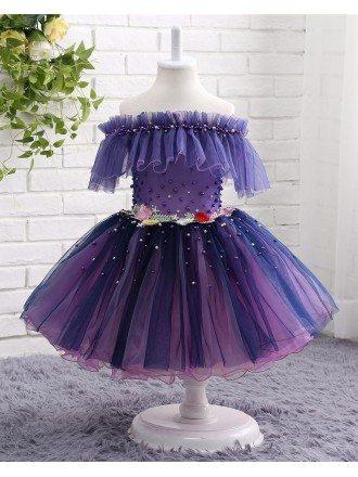 Purple Beaded Tulle Off The Shoulder Flower Girl Dress