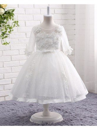 White Lace Tulle Ball Gown Flower Girl Wedding Dress With Half Sleeves
