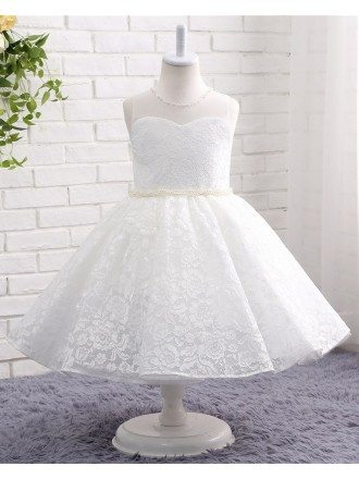 Full Lace Beaded Pearls Princess Flower Girl's Wedding Dress