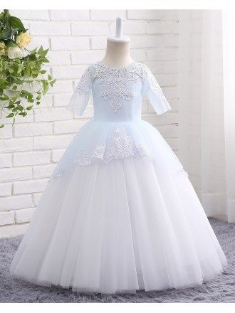 High Quality Lace Blue And White Ball Gown Tulle Flower Girl Dress Floor Length