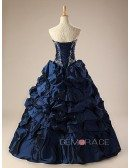 Royal Blue Ballgown Embroidered Formal Dress with Train