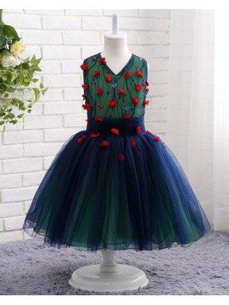 Cute Blue Tulle Girls Party Dress For Wedding Flower Girls