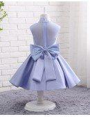 Beaded High Neckline Lavender Satin Formal Flower Girl Dress For Weddings