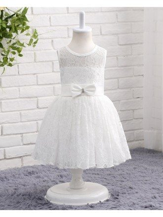 White Lace Toddler Flower Girl Wedding Dress With Sash