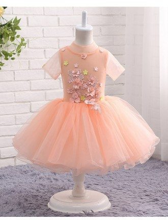Coral Puffy Tulle High Neckline Flower Girl Party Dress With Short Sleeves