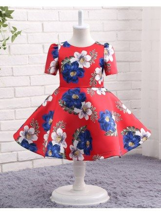 Unique Red With Printed Flowers Flower Girl Party Dress