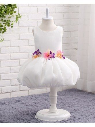 White Toddler Girl Petals Formal Dress For Wedding