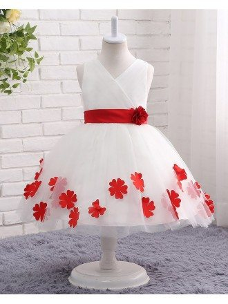 Classic Red And White Tulle Petals Formal Flower Girl Wedding Dress