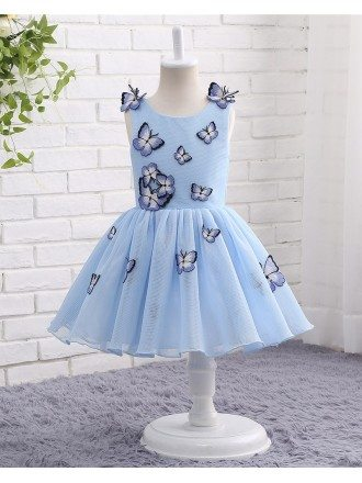 Unique Blue Tulle Butterfly Formal Girls Party Dress