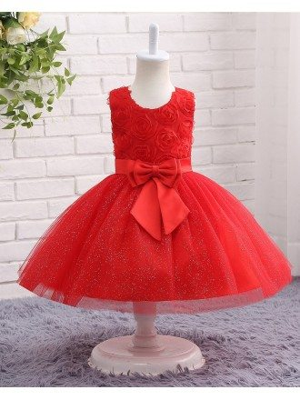 Red Sparkle Tulle Toddler Girls Formal Flower Girl Dress With Big Bow