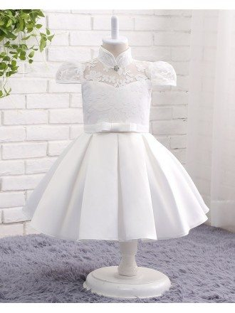 Cute Pure White High Neckline Satin With Lace Flower Girl Dress With Bubble Sleeves