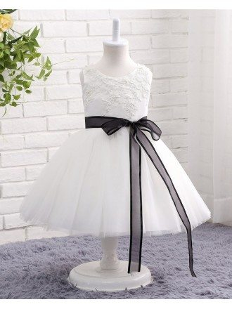 Black And White Lace Tulle Flower Girl Wedding Dress With Sash