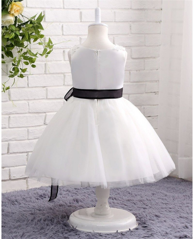 White Wedding Dress With Black Flowers: Black And White Lace Tulle Flower Girl Wedding Dress With