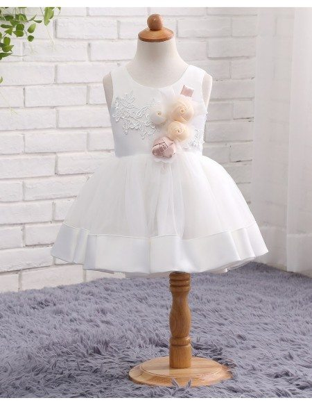 White Tulle And Satin Toddler Girls Formal Wedding Dress With Flowers