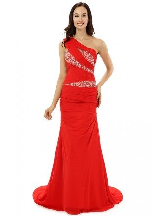 A-line One-shoulder Sweep-length Prom Dress