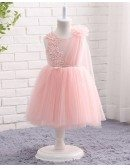 Best Pink Tulle Lace Formal Toddler Flower Girls Wedding Dress