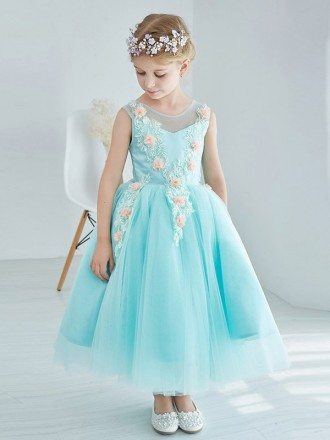Little Girl's Ball Gown Blue Tulle Lace Pageant Dress with Flowers