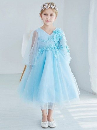 Tea Length Tulle Blue Applique Flower Girl Dress with Sleeves