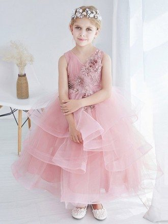 Sweetheart Cute Pink Bubble Flower Girl Dress with Applique