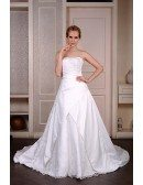 Ball-Gown Strapless Chaple Train Satin Wedding Dress With Beading Appliquer Lace