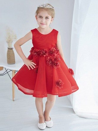 Hot Red Short Tulle Flower Girl Dress with Hand-made Flowers