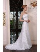Mermaid Strapless Court Train Lace Wedding Dress With Beading