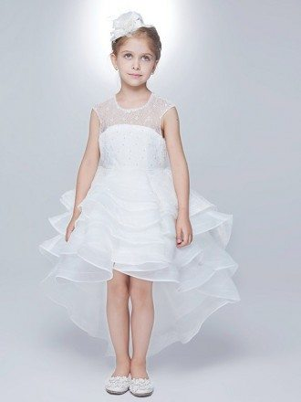 High Low Layered Lace White Flower Girl Dress with Hole Back