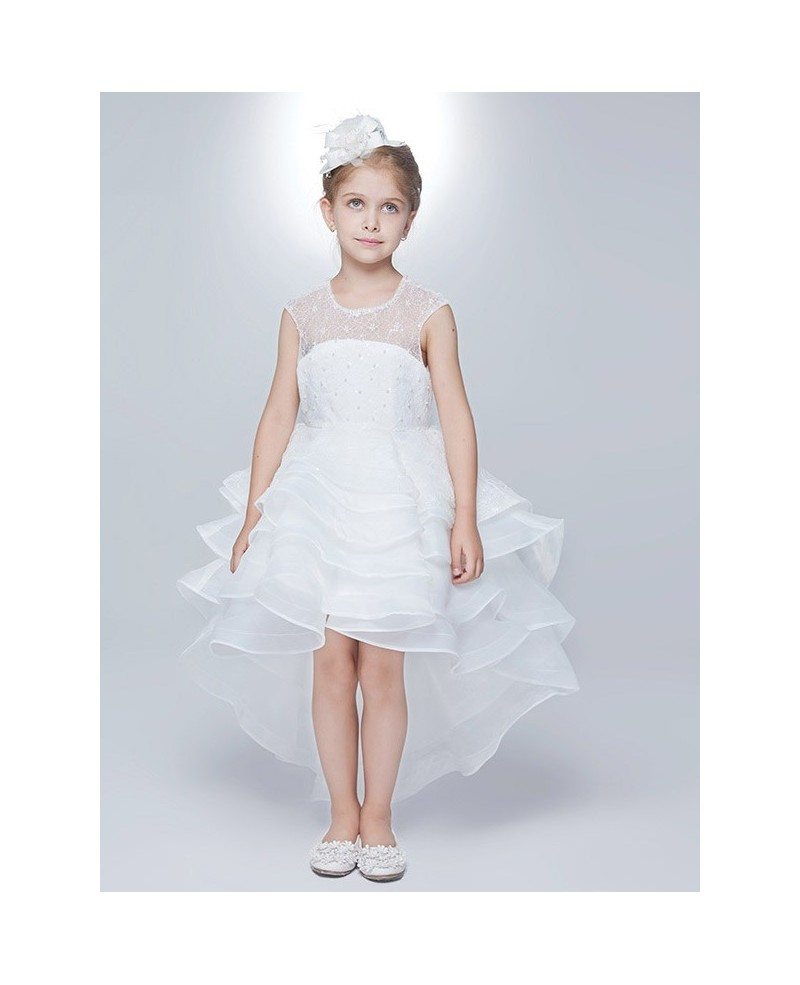 High Low Layered Lace White Flower Girl Dress With Hole Back Efa06 Gemgracecom