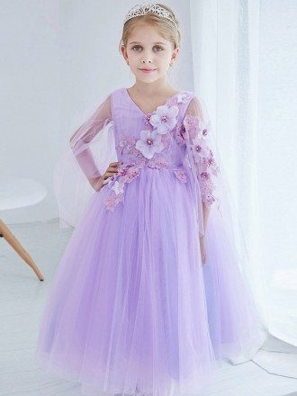 Ball Gown Tulle Lavender Applique Pageant Dress for Little Girls