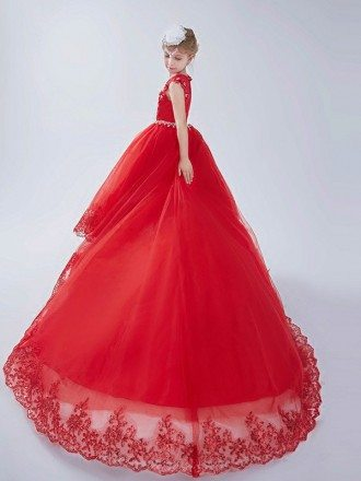 Long Train Red Lace Girl's Pageant Dress with Crystals