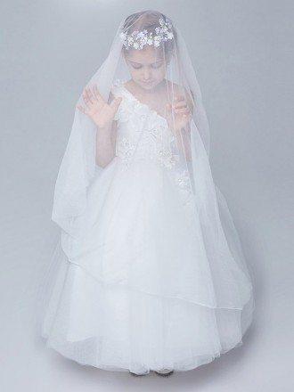 One Shoulder White Tulle Ball Gown Flower Girl Dress