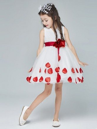 White with Red Petals Knee Length Flower Girl Dress with Sash