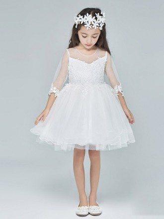 Tulle Lace White Short Sheer Top Flower Girls Dress