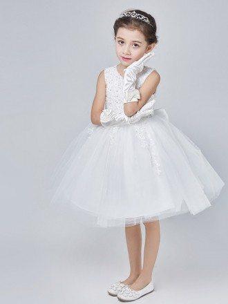 Short White Tulle Lace Beading Tutu Flower Girl Dress with Bow Back