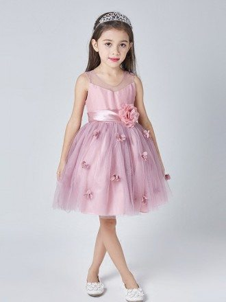 Lilac Short Simple Flowers Pageant Dress for Little Girls