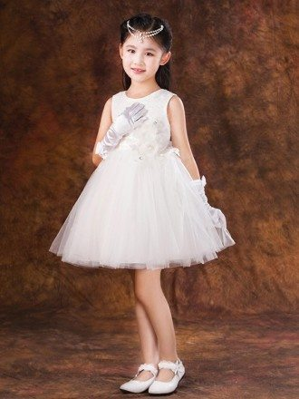 Short White Lace Tulle Tutu Flower Girl Dress with Bow Back