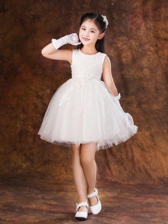 Short White Lace Tulle Tutu Pageant Dress with Bow Back