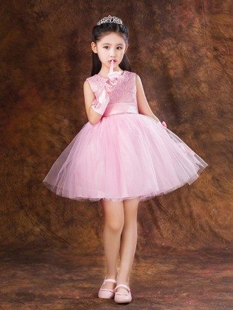 Short Pink Lace Tulle Flower Girl Dress with Bow