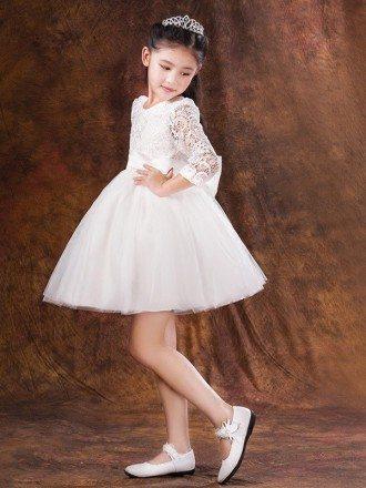 Short White Lace Sleeved Tulle Bow Flower Girl Dress