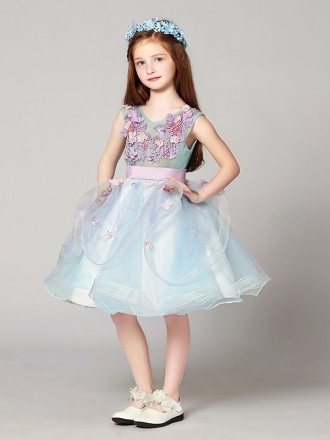 Blue and Purple Sweetheart Short Tulle Flower Girl Dress with Lace Beading