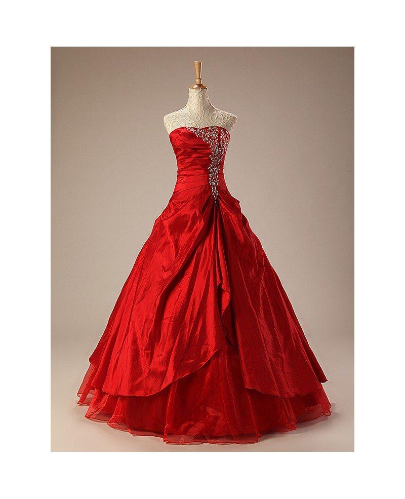 Taffeta Ballgown Embroidered Red Wedding Dress Ruffles Ch0010 223 Gemgrace Com