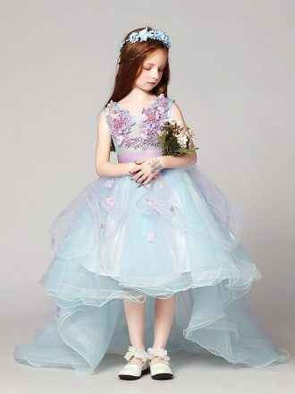 Asymmetrical Tulle Sweetheart Short Flower Girl Dress with Lace Beading