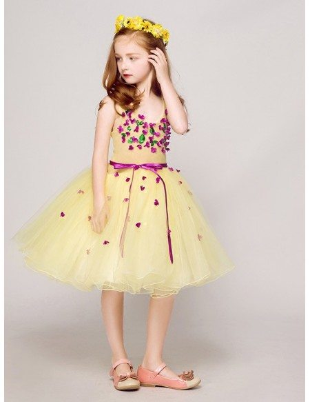 Sweetheart Short Yellow Tulle Pageant Dress with Purple Flowers