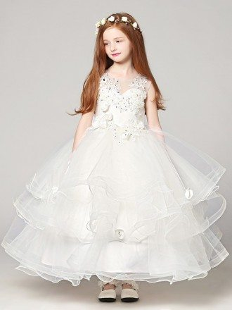 Ball Gown Long Ruffle Tulle Lace Flower Girl Dress with Beading